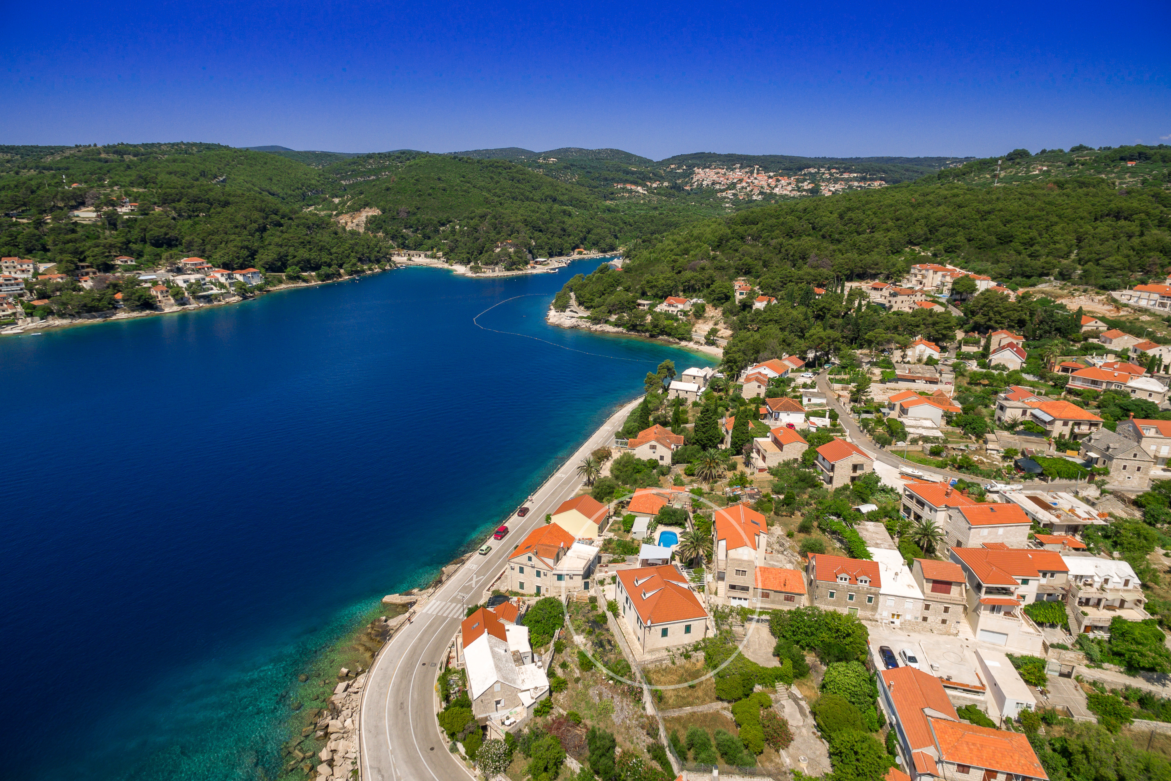 Drone view on Villa Mir Vami and pleasing bay of Sumartin