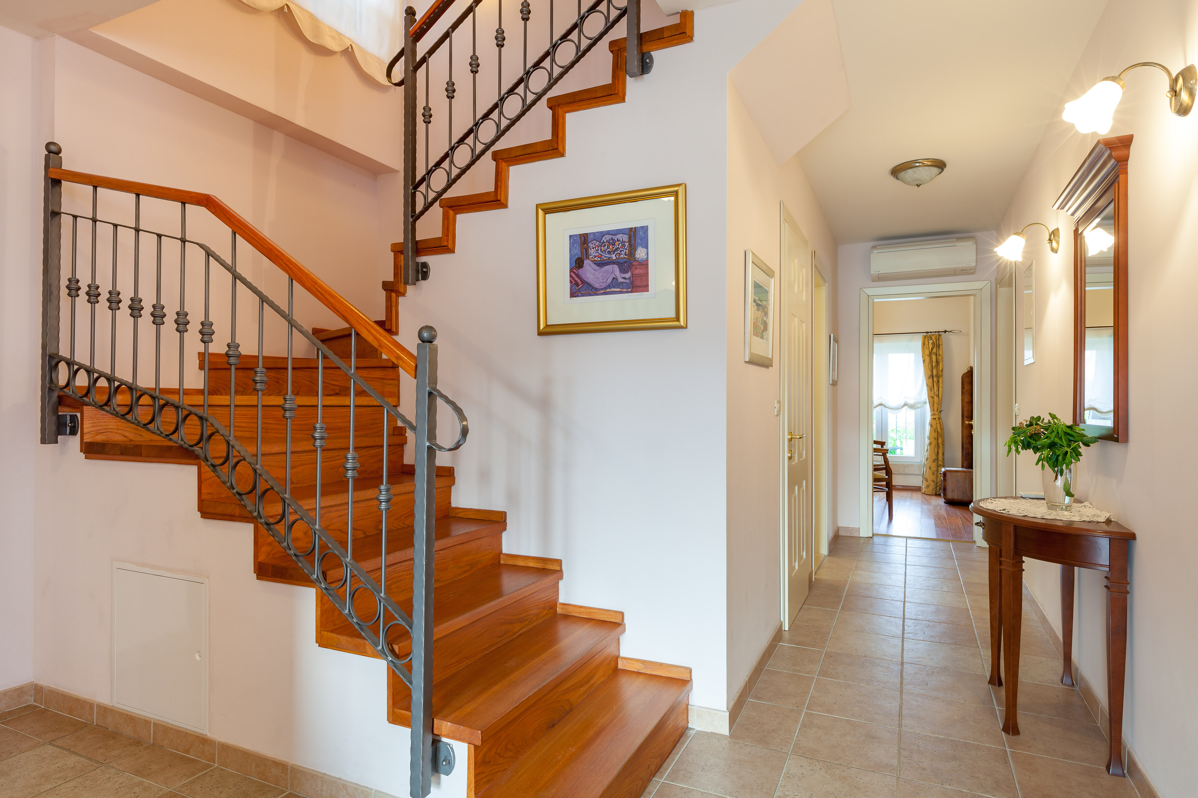 Stairs to the upper floor in the Villa Mir Vami