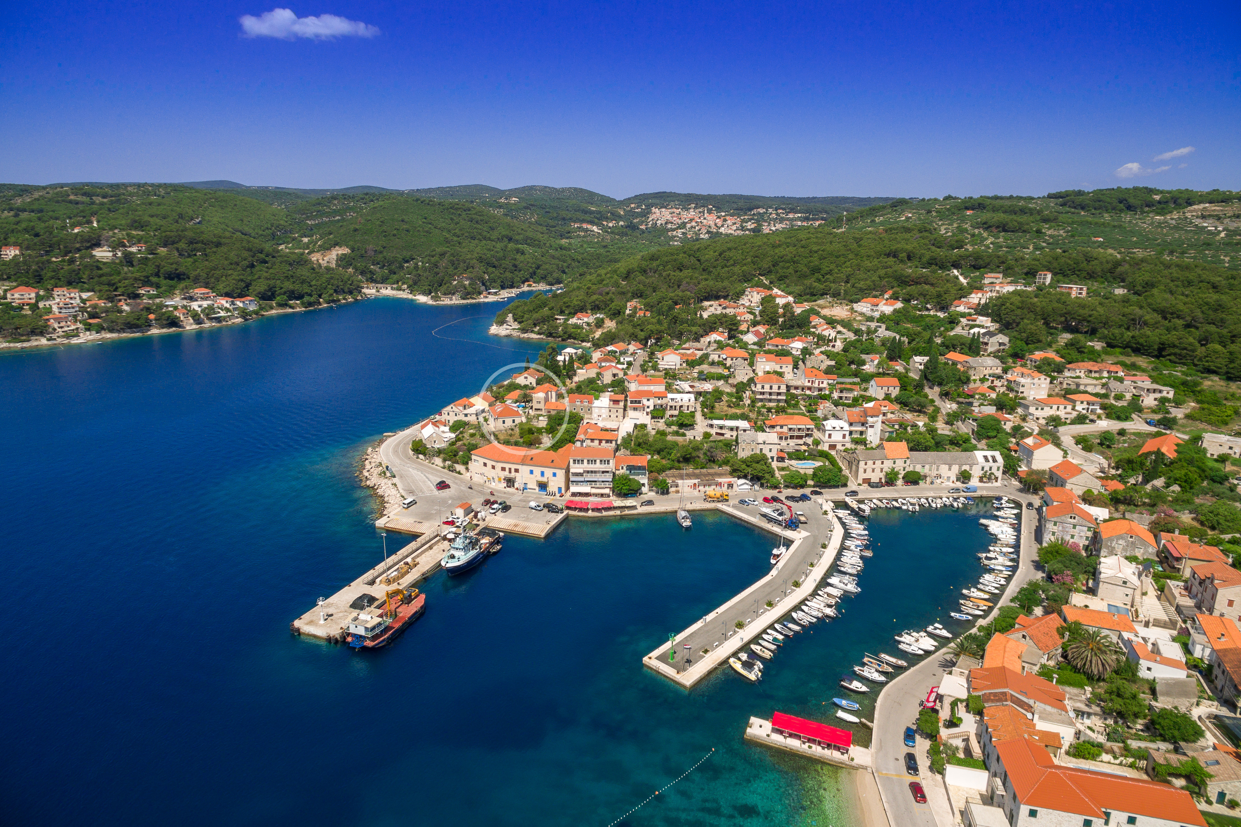 Drone view of the Villa Mir Vami and near harbor