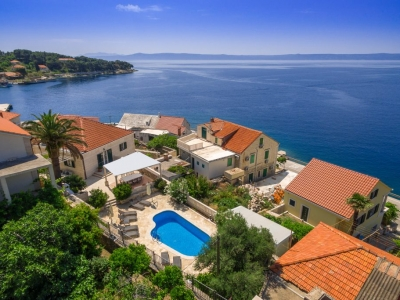 Beautiful colorful drone view of the Villa Mir Vami and its surroundings