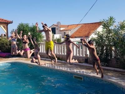 Kids enjoying the swimming pool in the Villa Mir Vami